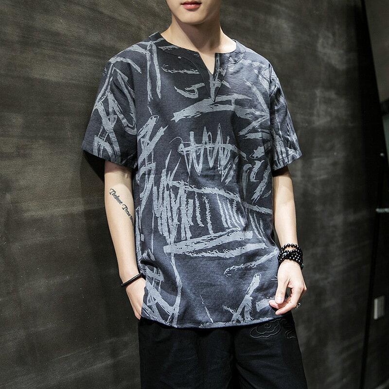 夏季男士短袖t恤2021新款棉麻印花半袖寬鬆圓領衣服男中國風上衣