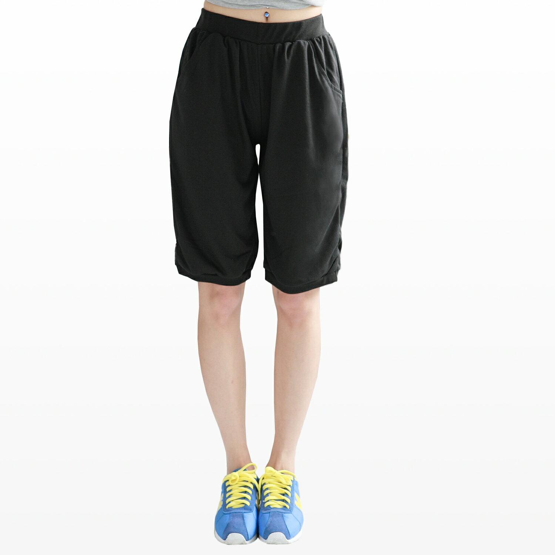 五分褲--夏日百搭鬆緊褲頭下擺雙口袋五分褲(黑.灰.藍M-XL)-R68眼圈熊中大尺碼 1