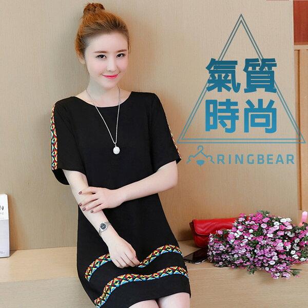 黑色洋裝--特色質感刺繡織帶貼邊圓領休閒短袖A字連身裙(黑M-3L)-D461眼圈熊中大尺碼