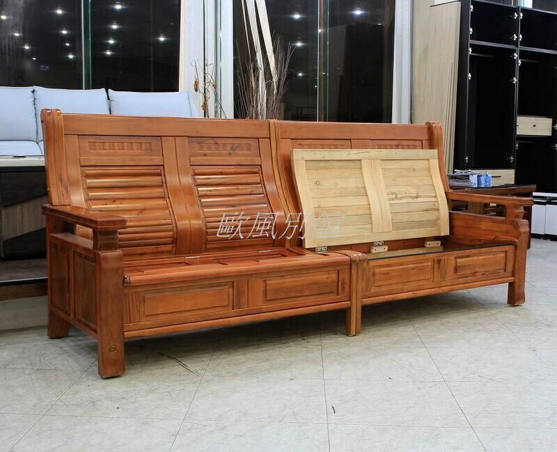 【歐風別館】梵谷香樟木全實木木板椅組--四人座【上掀收納~基隆至台中免運費】
