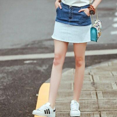 ☆短裙牛仔半身裙子-簡約個性漸層設計女裙裝73hv21【獨家進口】【米蘭精品】