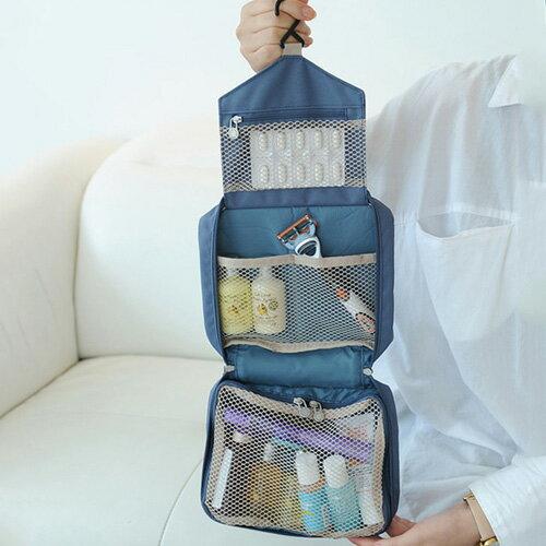 收納包-韓版三層次旅行收納洗漱掛勾插畫小包 包飾衣院 K1036 現貨+預購
