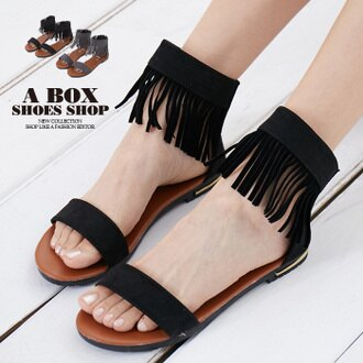 【AS817】韓版時尚繞踝流蘇一字涼鞋 後拉鍊好穿拖 1.5CM低粗跟 2色