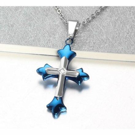 微鑽藍十字架 鈦鋼 白鋼  情侶款 吊墜 316精鋼 十字 男 女  聖經 經文 沂軒 F