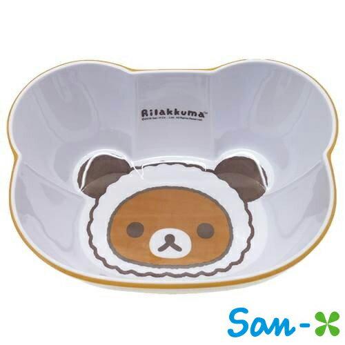 懶熊款【日本進口正版】San-X 拉拉熊 造型碗 塑膠碗 沙拉碗 水果碗 懶懶熊 Rilakkuma - 420055