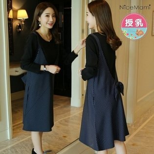 *漂亮小媽咪*MYLADY長袖兩件式條紋V領背心裙蝴蝶結哺乳T哺乳衣B2602