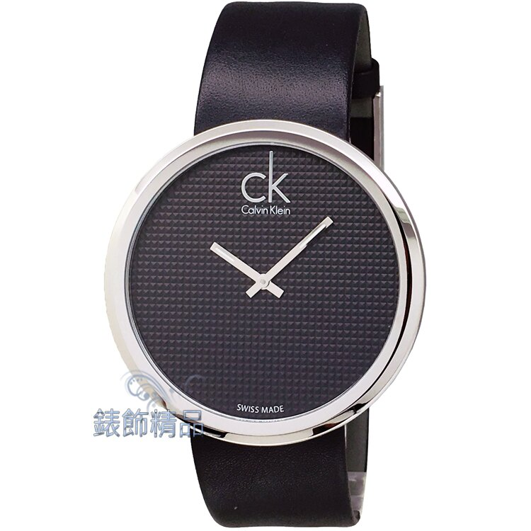 【錶飾精品】CK手錶 立體刻紋錶盤 薄型錶殼 K0V231C1 時尚名媛大錶徑黑面黑皮帶腕錶 全新原廠正品 情人生日禮品