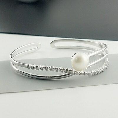 【米蘭秀】【奇珍館】:珍珠手環925純銀手鍊-9-9.5mm鋯石鑲嵌生日情人節禮物女飾品73qn31【獨家進口】【米蘭精品】