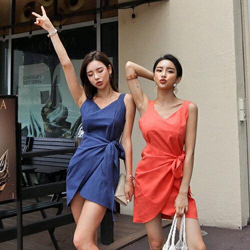 PS Mall 假二件式無袖背心連身裙 收腰V領洋裝【T649】 2
