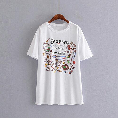 卡通印花圓領中長款套頭短袖T恤(3色F碼)【OREAD】 0