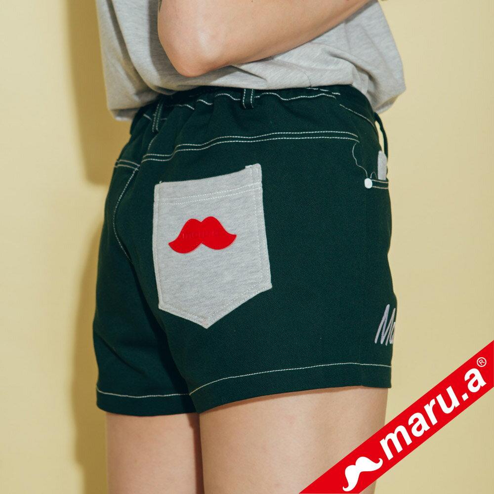 【maru.a】網路限定款*刺繡雙口袋皮標鬆緊帶短褲(2色)8985112 5