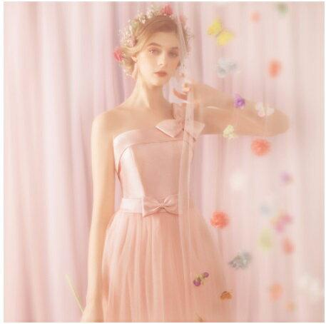 天使嫁衣【AE6069】粉色單肩氣質收腰網紗伴娘長禮服˙預購訂製款
