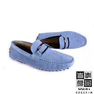 寺孝良品 義式雅痞編織麂皮豆豆鞋 天藍 2