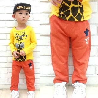 【班比納精品童裝】百搭星星貼布口袋毛圈棉褲-橘【BB150807012】