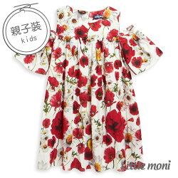 Little moni 夏日花卉露肩洋裝-白色