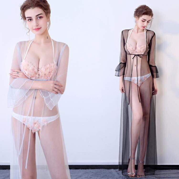 透視禮服 洋裝 夜店透視裝新款桑拿性感薄紗透明連身裙夜場走秀開衫真空晚禮服女-麥田印象
