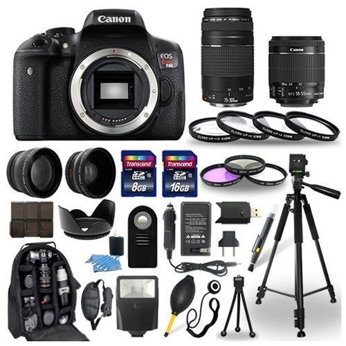Canon Eos Rebel T6I Camera + 18-55mm stm + 75-300mm + 30 Piece Accessory Bundle 0