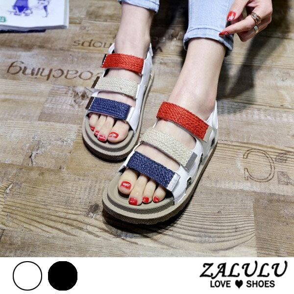 ZALULU愛鞋館7EE104預購俏皮三線顏色平底涼鞋-白黑-36-40
