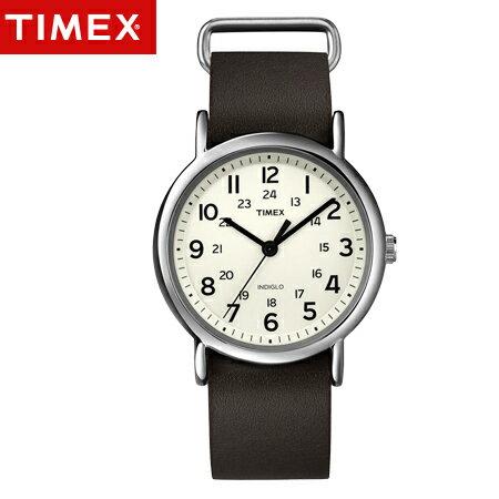 TIMEX天美時腕錶 NDIGLO冷光面盤Weekender系列咖啡皮革手錶 柒彩年代~N