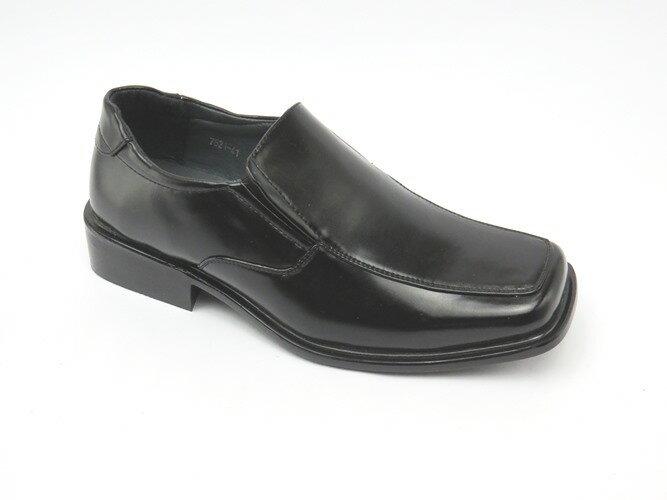 *男皮鞋* 時尚舒適方頭排壓氣墊皮鞋77-7821(黑)☆【彩虹屋】☆