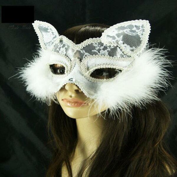 塔克玩具百貨:【塔克】貓臉貓女狐狸面具性感貓面罩蕾絲面紗眼罩面罩cosplay表演舞會派對整人