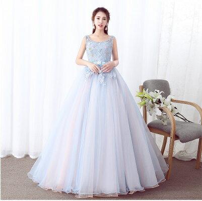 天使嫁衣【HU020】無袖織網彩花雙色裙紗美感晚禮服˙預購客製款