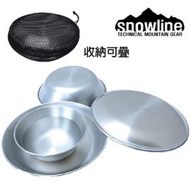 【鄉野情戶外用品店】 Snowline |韓國| 不鏽鋼碗盤組(4件各一)/堆疊收納設計/SN75UCW003 【不鏽鋼餐具】