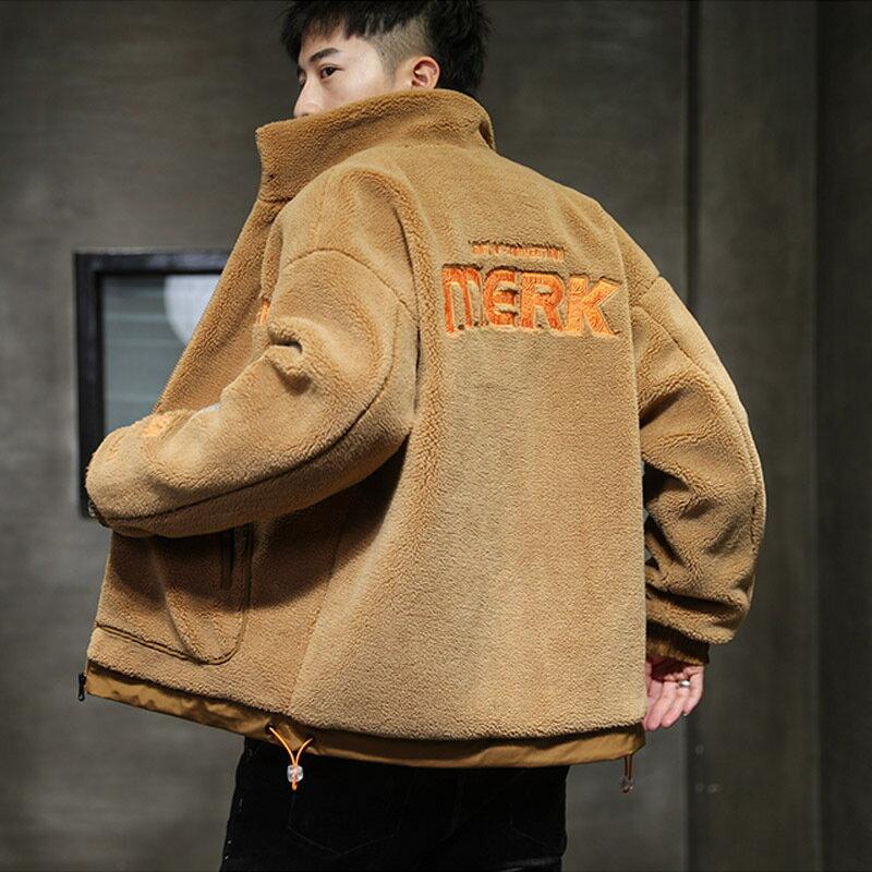 羊羔毛絨加厚保暖外套男士棉衣冬季韓版潮流立領短款棉服棉襖