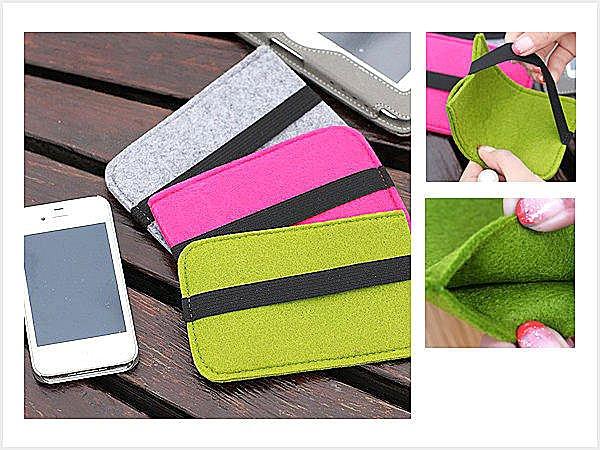 BO雜貨【SV3071】可愛彩色羊毛氈鬆緊帶手機保護套 收納包 手機包 手機袋 手機套 保護套