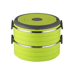 NEOFLAM 雙層圓型保溫便當盒1200ml(綠)