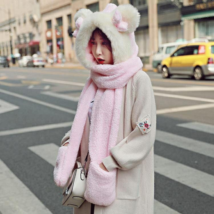 聖誕鉅惠▶飛行帽 冬天騎車帽子圍巾手套三件套女冬季加厚保暖護耳防風一體加絨圍脖