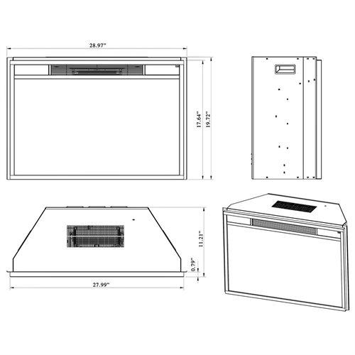 "AKDY 28"" AK-EF05-28R Black Electric Firebox Fireplace Heater Insert W/Remote 3"