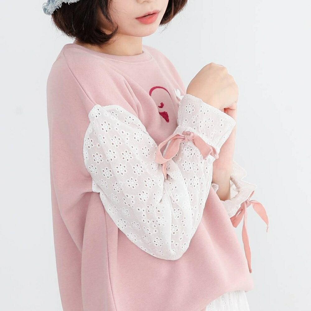 Pink*唯美立體雕花天鵝棉質上衣 (粉/藍 2色) P2322BD► 618滿3件再89折