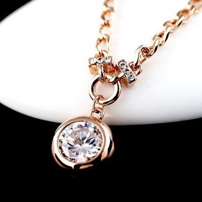純銀項鍊 鍍18K金鑲鑽吊墜~高檔閃亮休閒生日情人節 女飾品2色73dn84~ ~~米蘭