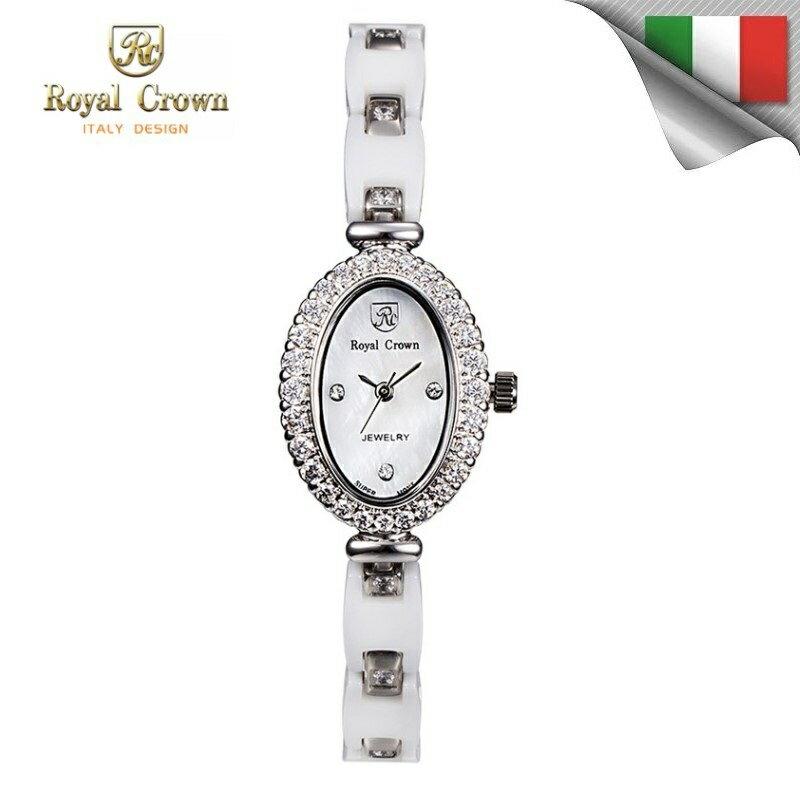 日本機芯 經典氣質鑲鑽錶 陶瓷錶帶 多款式可選 6380-C 免運費 義大利品牌精品手錶 蘿亞克朗 Royal Crown