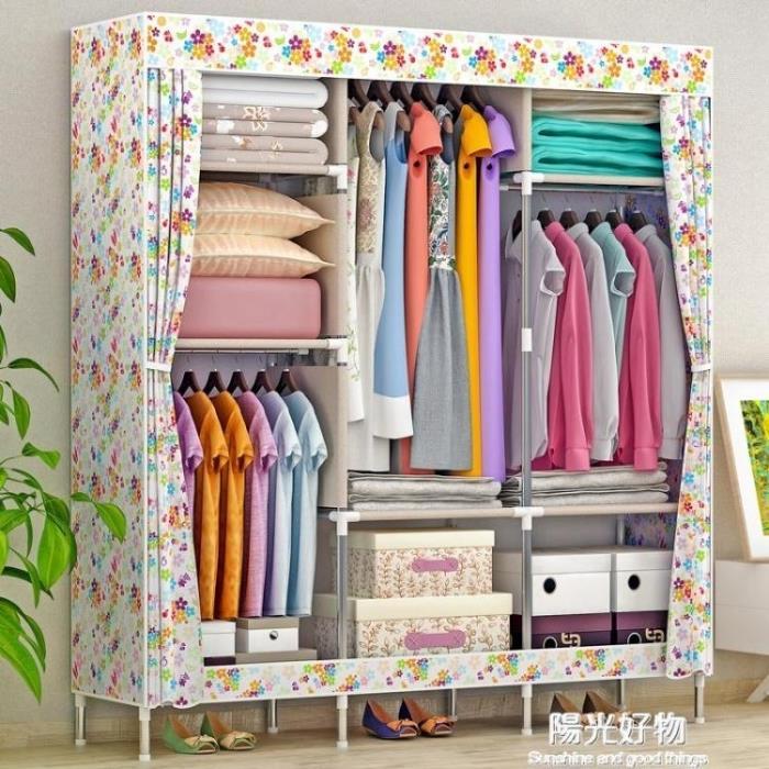 衣櫃衣櫥簡易 大號布鋼管加粗加固鋼架布藝摺疊收納櫃 0
