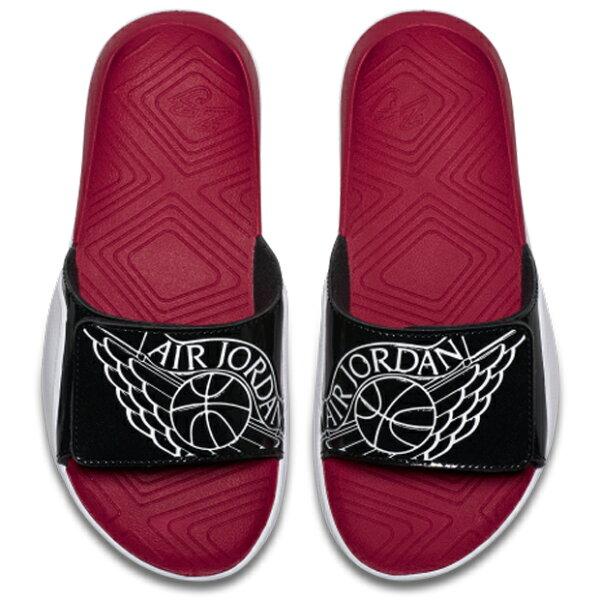 JORDANHYDRO7(GS)大童女鞋拖鞋魔鬼氈翅膀紅黑【運動世界】AA2516-001