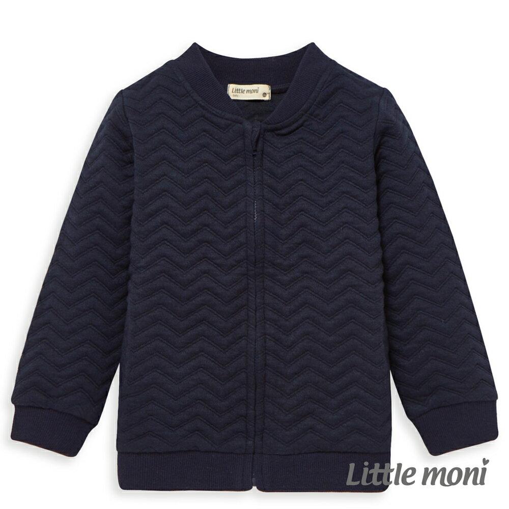 Little moni 幾合壓紋鋪棉外套-深藍 0