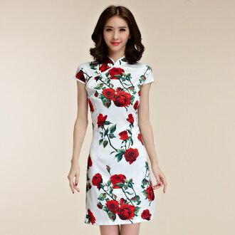 天使嫁衣【J2K98592】中大尺碼宮廷玫瑰花小包袖中國風短款旗袍-預購