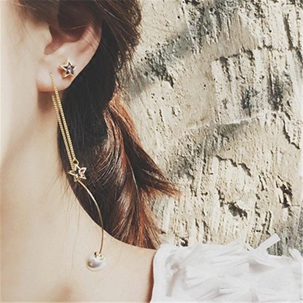 PS Mall 紫色五角星星水晶 珍珠吊墜不對稱耳線耳環 三件套耳飾品~G2252~ ~
