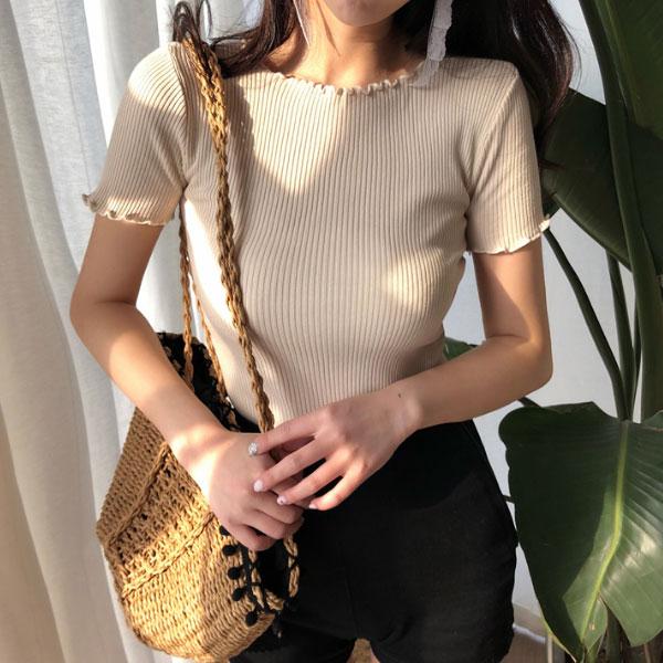 大奶T木耳邊螺紋坑條上衣短袖顯瘦爆乳多色百搭素面純色氣質T韓ANNAS.