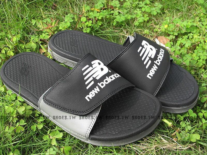 Shoestw【U3006CBW】NEW BALANCE 拖鞋 魔鬼氈 NB大LOGO 黑灰 運動拖鞋 男女尺寸都有