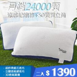 免運費*涼感記憶棉獨立筒枕(二入)
