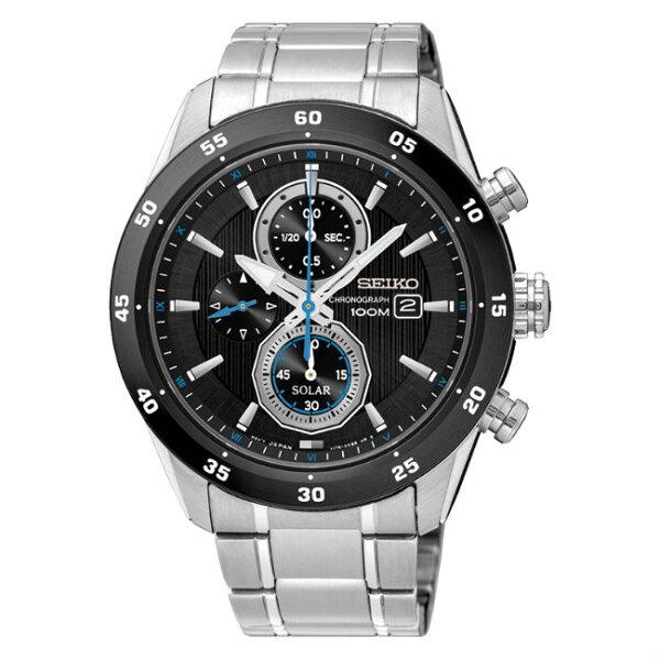 SeikocriteriaV176-0AR0D(SSC531P1)極致競速太陽能計時腕錶黑面43mm