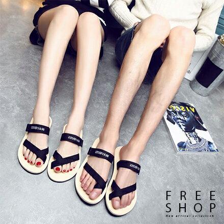 Free Shop 休閒沙灘鞋 簡約線條織帶海灘鞋涼鞋拖鞋 情侶款男女款中性款 防滑平底綁