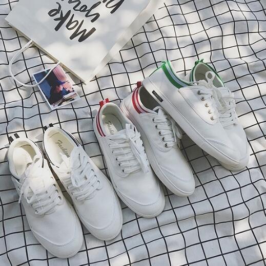 FINDSENSE服飾:FINDSENSEMD日系流行時尚潮男拼接條紋小白鞋休閒板鞋帆布鞋學生鞋