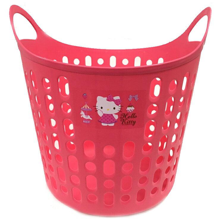 韓國製 HelloKitty凱蒂貓 塑膠 手提污衣籃 洗衣籃 籃子 衣物置物收納籃 韓國進口正版 076421