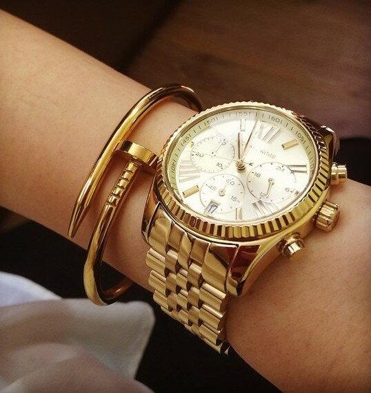 美國Outlet正品代購 MichaelKors MK  男女中性金色鋼帶錶 手錶 MK5556 6