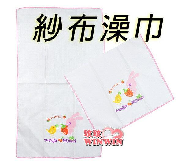 亞米兔YM-86103 印花紗布澡巾二入裝(粉、藍可選) 100%天然純棉、不含螢光劑