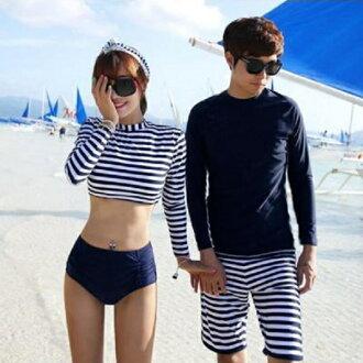 PS Mall 條紋長袖泳衣 二件式比基尼泳裝【ET495】泳衣 溫泉 沙灘 BIKINI 浮淺 淺水 衝浪